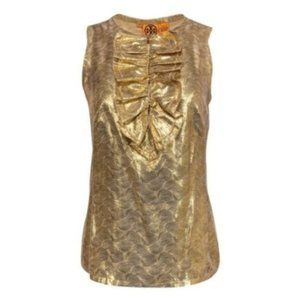 Tory Burch Metallic Gold Sleeveless Top